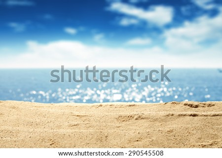 stock photo yellow warm sand and summer sea with sky and free space 290545508 - Каталог — Фотообои «Море, пляж»