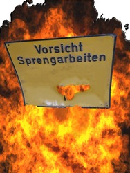 Yellow Warning Sign with Caption in German - Caution Blasting Entering Forbidden. Focus as desired.Post-processing technology so wanted