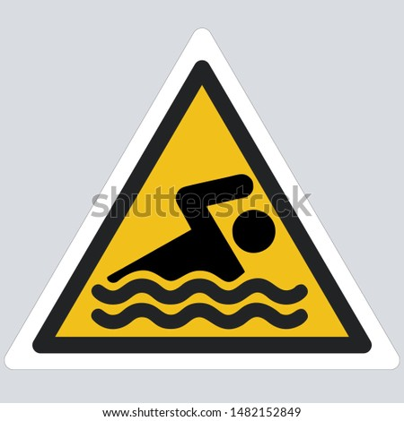 Yellow warning swimming  sign icon. Sign yellow triangle with swimming area  sign. Illustration of attention swimming symbol sign in flat minimalism style.