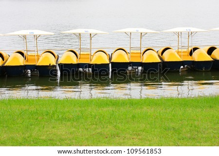 Yellow water bicycles ,Pedal boat.