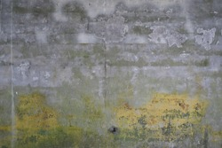 Yellow water damage on cement wall.