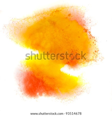 yellow watercolor splash stain orange macro color spot blotch watercolour texture isolated on a white background