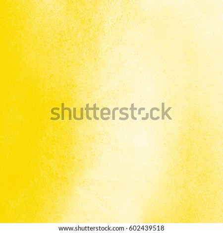 Yellow watercolor square background with stains. Watercolour summer texture. Hand drawn abstract aquarelle fill. Template for cards, banners, posters. #602439518