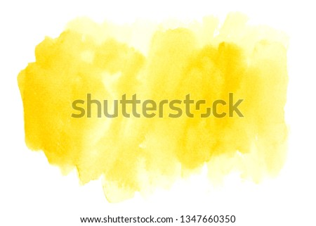 yellow watercolor stain with color shades paint stroke background splash texture #1347660350