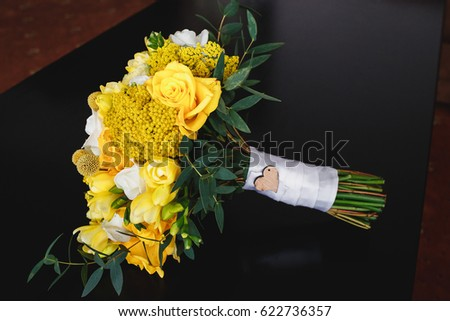 yellow wedding bouquet #622736357