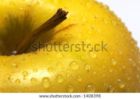 Yellow wet apple