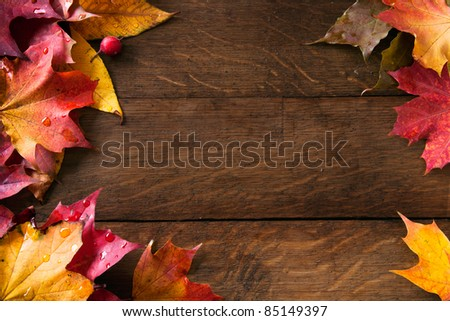 yellow wet autumn leaves on the background a dark old wood