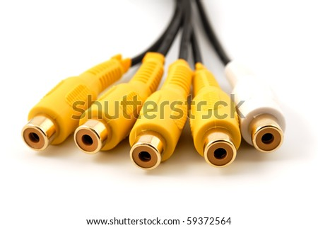 Yellow white RCA audio video plug connectors on a white background