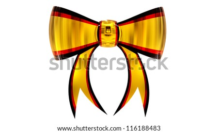 yellow with red plastic christmas bow on a white background
