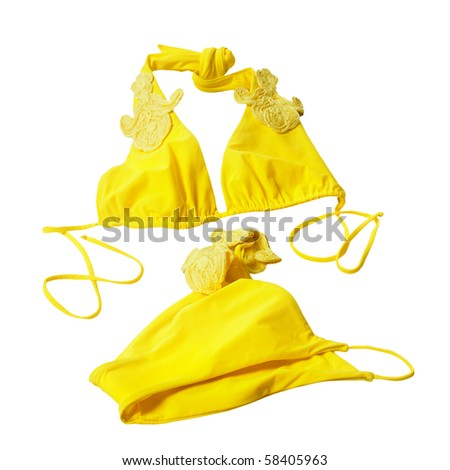 yellow woman swimming suit isolated on white - stock photo