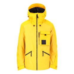 Yellow Women's Ski Jacket Isolated on White. Zipper Pullover Coat & Adjustable Hood & Windproof Fabric. Winter Sports Outwear. Water Resistant Hooded Winter Jacket with Cuffs Three Zippered Pockets