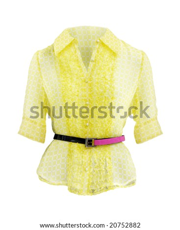 Yellow womens shirt isolated on white background with clipping path