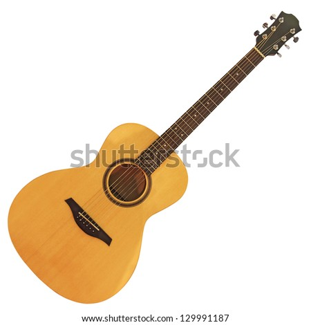 Yellow wooden acoustic guitar isolated on white background