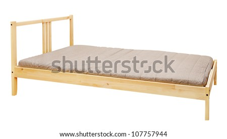 yellow wooden bed isolated on white background