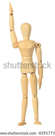 Yellow wooden dummy in raise hands action isolated on white background