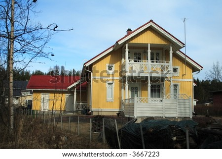 Yellow wooden Finnish house