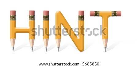 Yellow wooden pencils formed to spell Hint word over white background