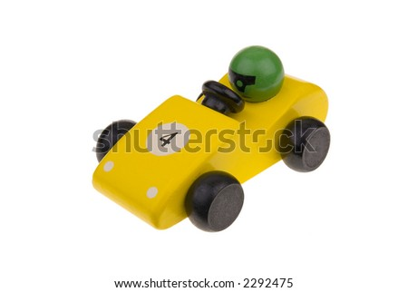 yellow wooden toy race car