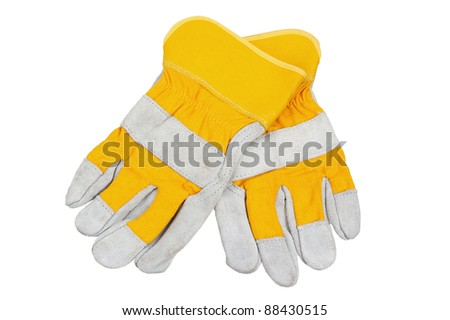 Yellow working gloves, it is isolated on white