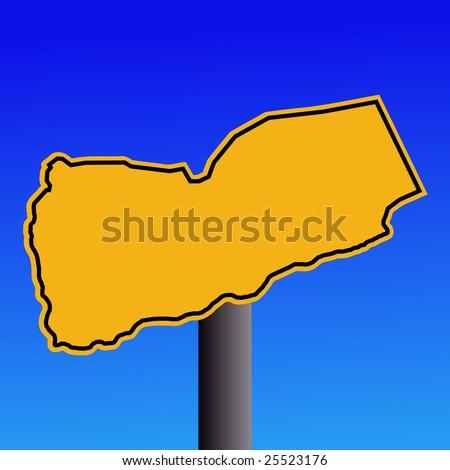 A Map Of Yemen. yellow Yemen map warning sign