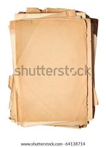 yellowed vintage paper isolated on white