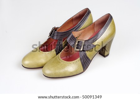 yellowish brown pair of vintage shoes