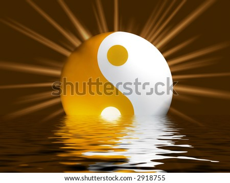 Yellowish Yin Yang Symbol with shiny raylight