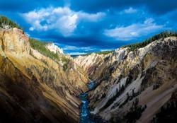 Yellowstone Canyon looking downriver of Lower Yellowstone Falls.