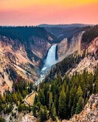 Yellowstone Falls in Yellowstone National Park.