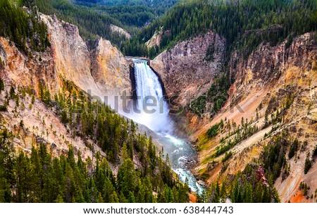Yellowstone mountain waterfall river landscape #638444743