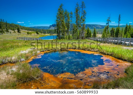 Yellowstone National Park - Gem pool and pinto spring in the cascade geyser group viewpoint, west gate , wyoming, USA\r