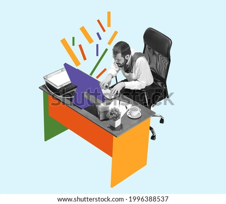 Yeloow, purple and orange colors. Young man, manager working hardly isolated over blue background, Trendy bright colors. Contemporary art. Creative conceptual and colorful collage. Office worker