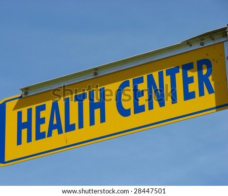 Yelow and Blue Health Center Sign