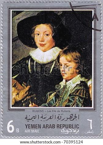 YEMEN ARAB REPUBLIC - CIRCA 1968: A stamp printed in Yemen Arab Republic shows painting of Peter Paul Rubens - Artist's Sons Albert and Nicholas (detail), series, circa 1968