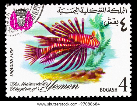 YEMEN - CIRCA 1967: A stamp printed in the Kingdom of Yemen, shows Tropical Fish, Dragon fish, circa 1967