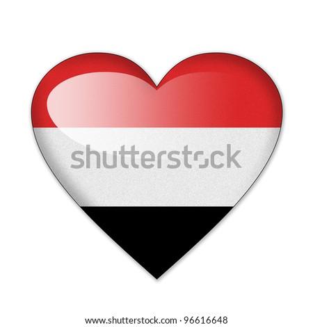 Yemen flag in heart shape isolated on white background