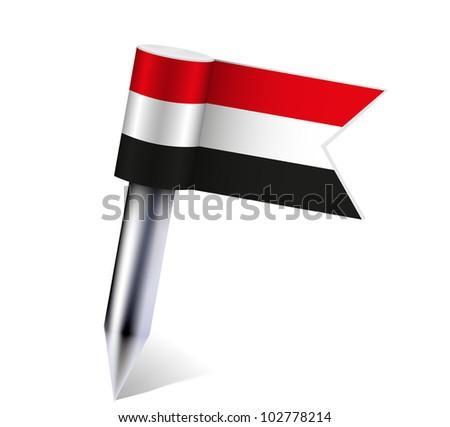 Yemen flag isolated on white