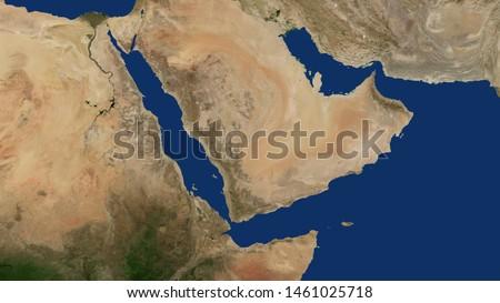 Yemen map, Saudi Arabia, Oman, Qatar, Emirates, Iran, Oman, Persian gulf, Arabian gulf, Iraq, Jordan, Israeli, Syria, Palestine, Somalia, Djibouti, Sudan, Ethiopia, 3D rendering