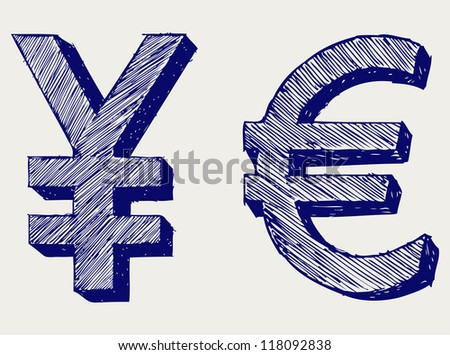 Yen and euro. Doodle style. Raster