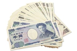 Yen banknote Bank of thousand yen and ten thousand yen isolated on a white background