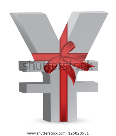 yen currency symbol and ribbon illustration design over white