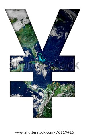 Yen sign with earth texture.