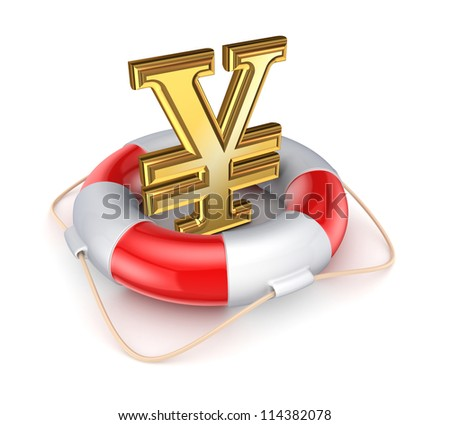 Yen symbol in a lifebuoy.Isolated on white background.3d rendered.
