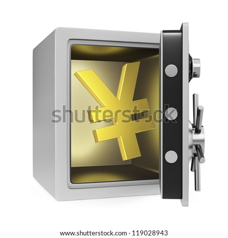 Yen symbol in a personal safe with door opened. Isolated on a white background.
