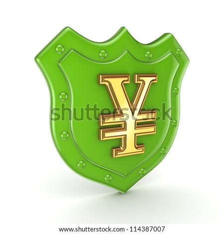 Yen symbol on a backplate.Isolated on white background.3d rendered. - stock photo