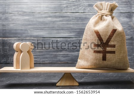 Yen yuan symbol money bag and people on scales. concept of attracting investment, business cooperation, crowdfunding and startup. Staff salary and specialist services cost. Solvency, taxpayers
