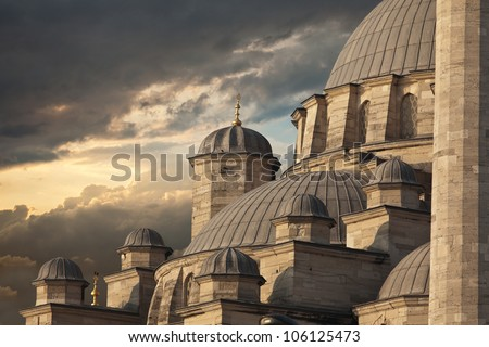 Yeni Cami Mosque The New Mosque in Istanbul at sunset - stock photo