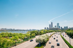 Yeouido modern cityscape and Han river park in Seoul, Korea
