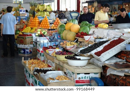 YEREVAN - JULY 16: Inside in the Central Yerevan Market which is the largest and market in Armenia, on a fair day, on July 16, 2006 in Yerevan, Armenia - stock photo