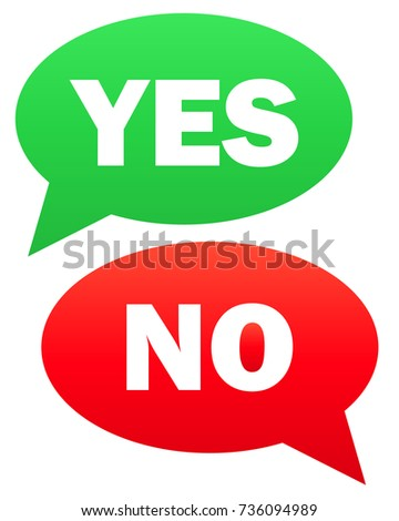 Yes and no icon.  simple illustration of yes and no icon isolated on white background